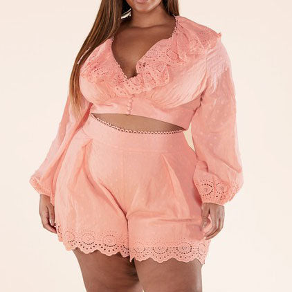 Pink Ruffled Two-Piece Set