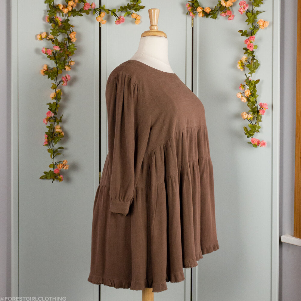 Brown Linen Tiered Tunic