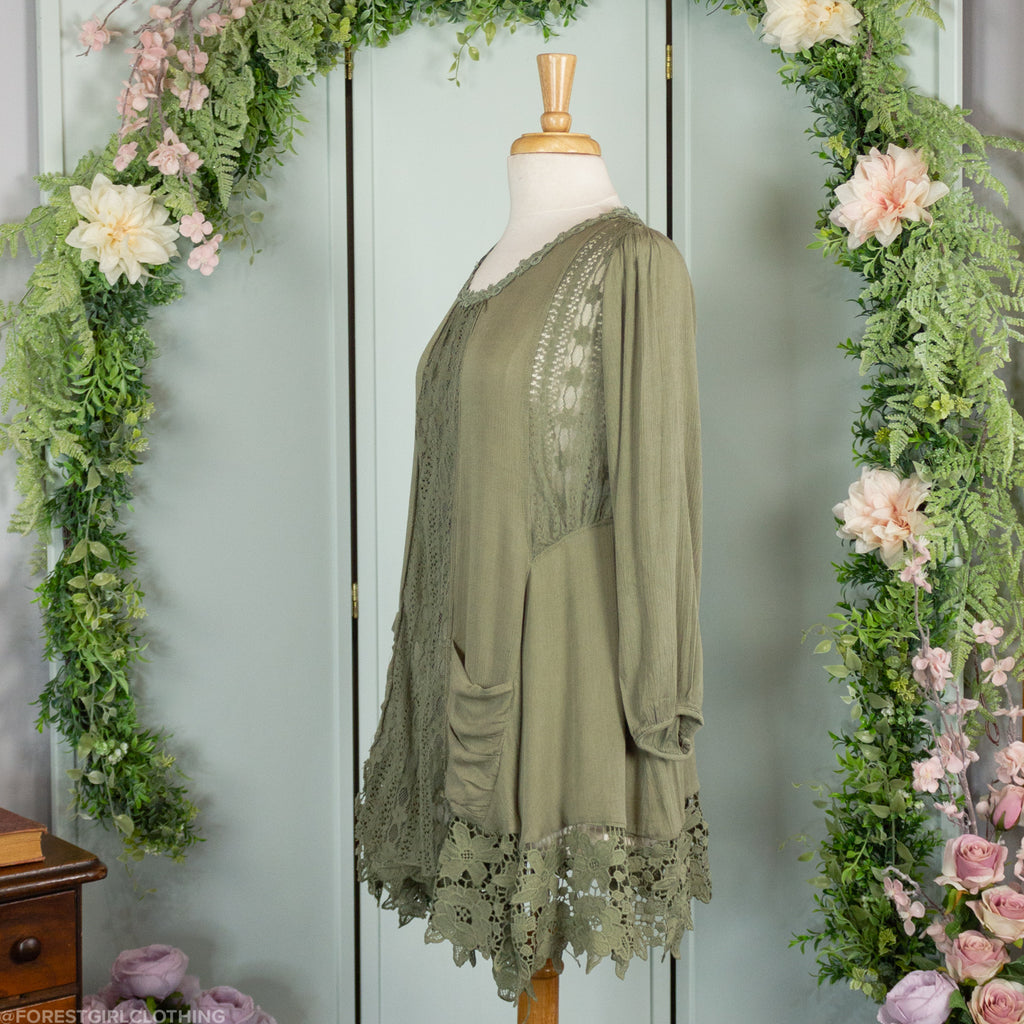 Green Tunic with Lace Panels