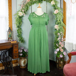 Green Maxi Dress with Embroidered Cutouts