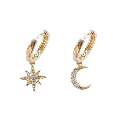 Crescent Moon & Star Asymmetric Earrings Drop Earrings Shop4221045 Store Gold