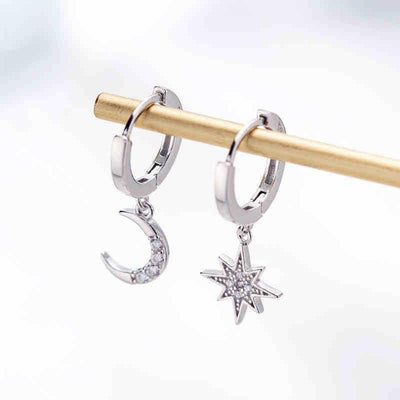 Crescent Moon & Star Asymmetric Earrings Drop Earrings Shop4221045 Store Silver
