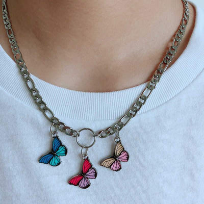 Punk Butterfly Choker Chain Necklaces Babyep Store