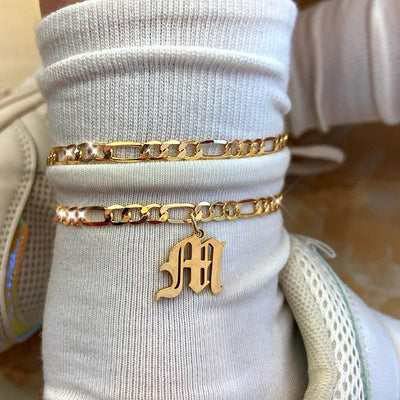 Old English Cuban Initial Anklet Anklets Flatfoosie Official Store