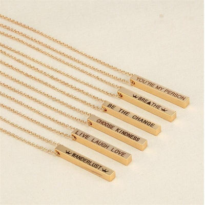4-Sided Custom Engraved Bar Necklace Pendant Necklaces POSHFEEL Store