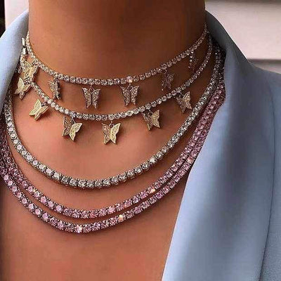 Butterfly Tennis Choker Chain Necklaces TOPGRILLZ GLD Store