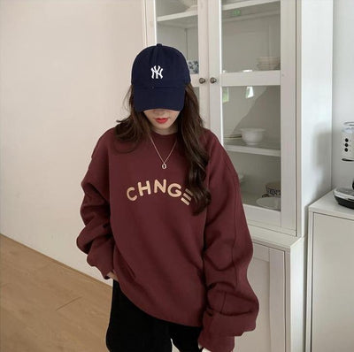 """Change"" Oversized Sweater Hoodies & Sweatshirts zhisilao Official Store Ruby Red S"
