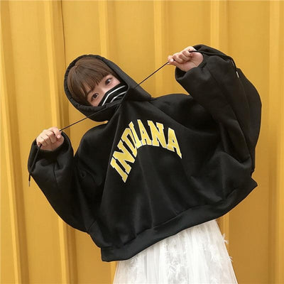 Oversized Indiana Hoodie Hoodies & Sweatshirts BARGAIN HUNTERS Store Midnight Black M
