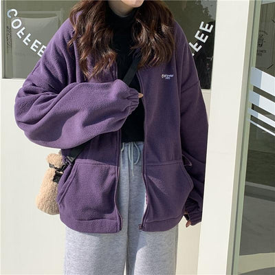 Fleece Zip Up Hoodies & Sweatshirts Altayskiy Lover Store Lavender M