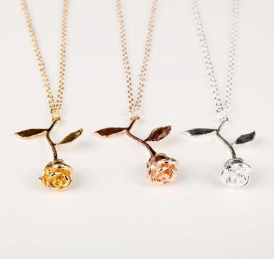 Rose Charm Necklace Pendant Necklaces ANNA JEWERLY Store
