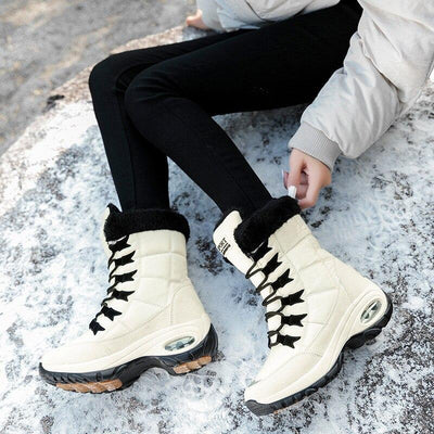Lace Up Winter Boots Mid-Calf Boots ZUUBAN Trend Store Beige 5