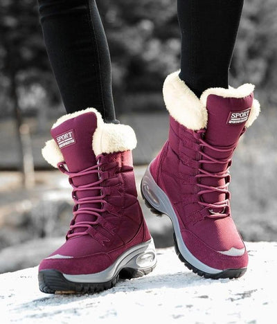 Lace Up Winter Boots Mid-Calf Boots ZUUBAN Trend Store Ruby Red 5