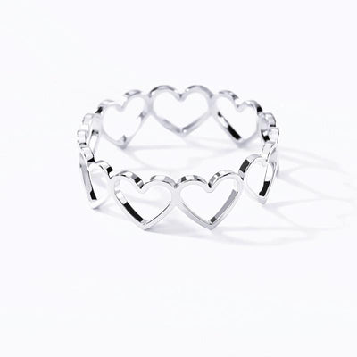 Linked Heart Ring Wedding Bands Ainls Store
