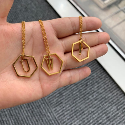 Hexagon Letter Necklace Chain Necklaces fshion for you Store
