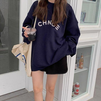 """Change"" Oversized Sweater Hoodies & Sweatshirts zhisilao Official Store Navy Blue S"