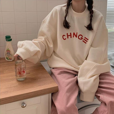 """Change"" Oversized Sweater Hoodies & Sweatshirts zhisilao Official Store Beige S"