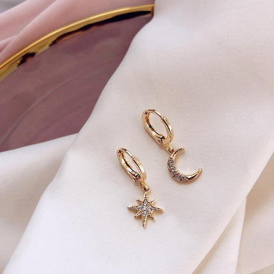 Crescent Moon & Star Asymmetric Earrings Drop Earrings Shop4221045 Store