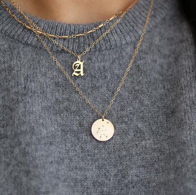 Old English Initial Necklace Pendant Necklaces CAVSUAT Store