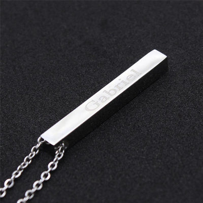 4-Sided Custom Engraved Bar Necklace Pendant Necklaces POSHFEEL Store Silver