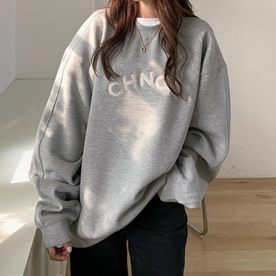 """Change"" Oversized Sweater Hoodies & Sweatshirts zhisilao Official Store Charcoal Grey S"