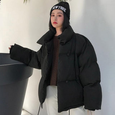 Hooded Puffer jacket Down Coats chu mark parka Store Midnight Black S