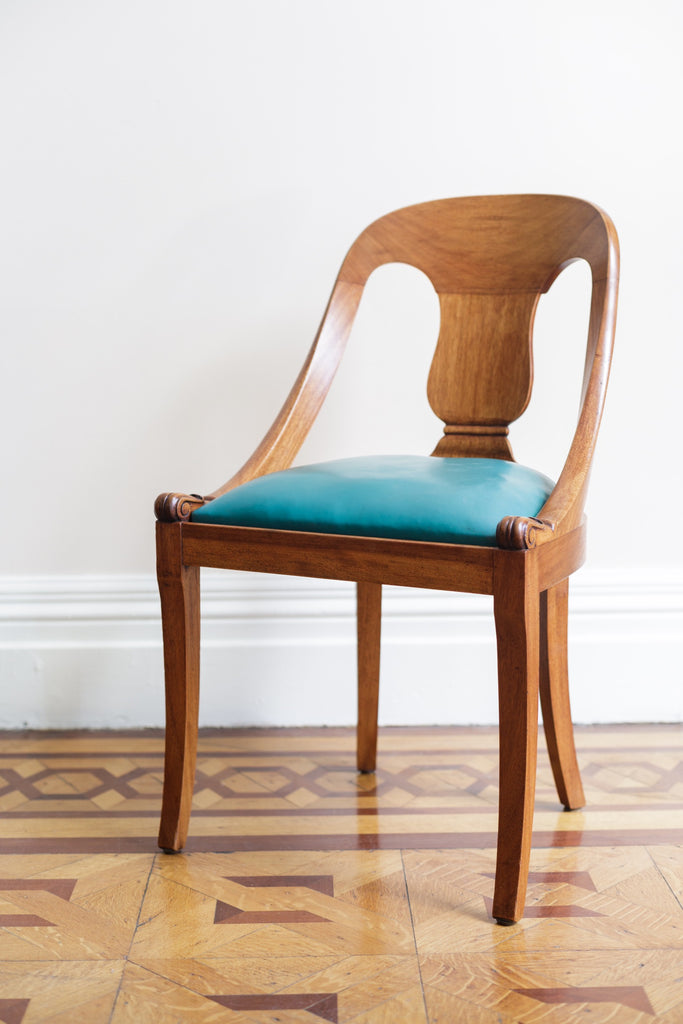 Chair in Walnut with Teal Leather Upholstery