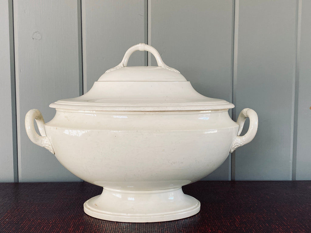 Antique French Creamware Tureen, Large