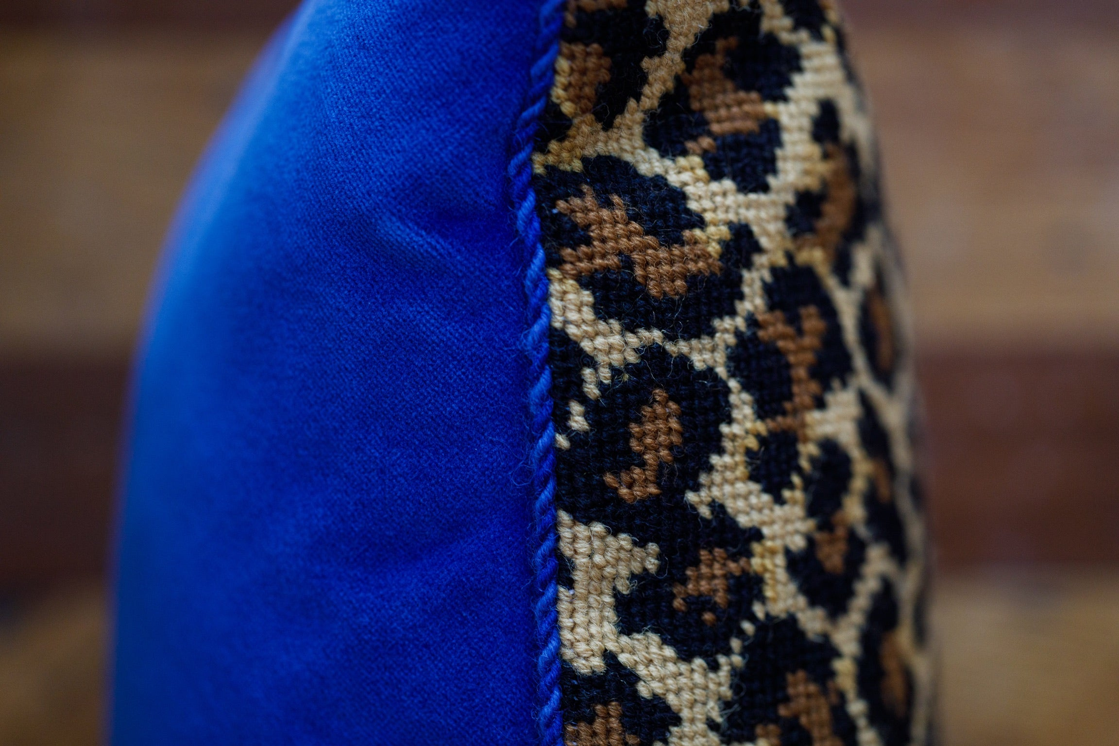 Leopard Needlepoint Pillow, Royal Blue