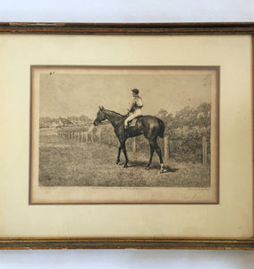 "Etching, Frank Paton, Racing Print ""Out of It"""