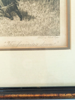 "Etching, Frank Paton, Racing Print, ""The Favorite's Down"""