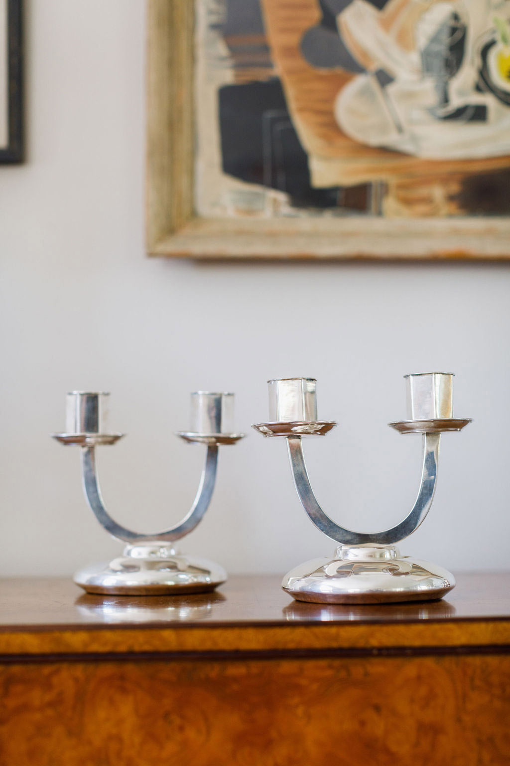 Portuguese Silver Candlesticks, c. 1930s, pair