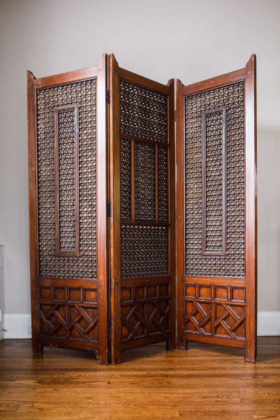 English Victorian Walnut Three Panel Screen