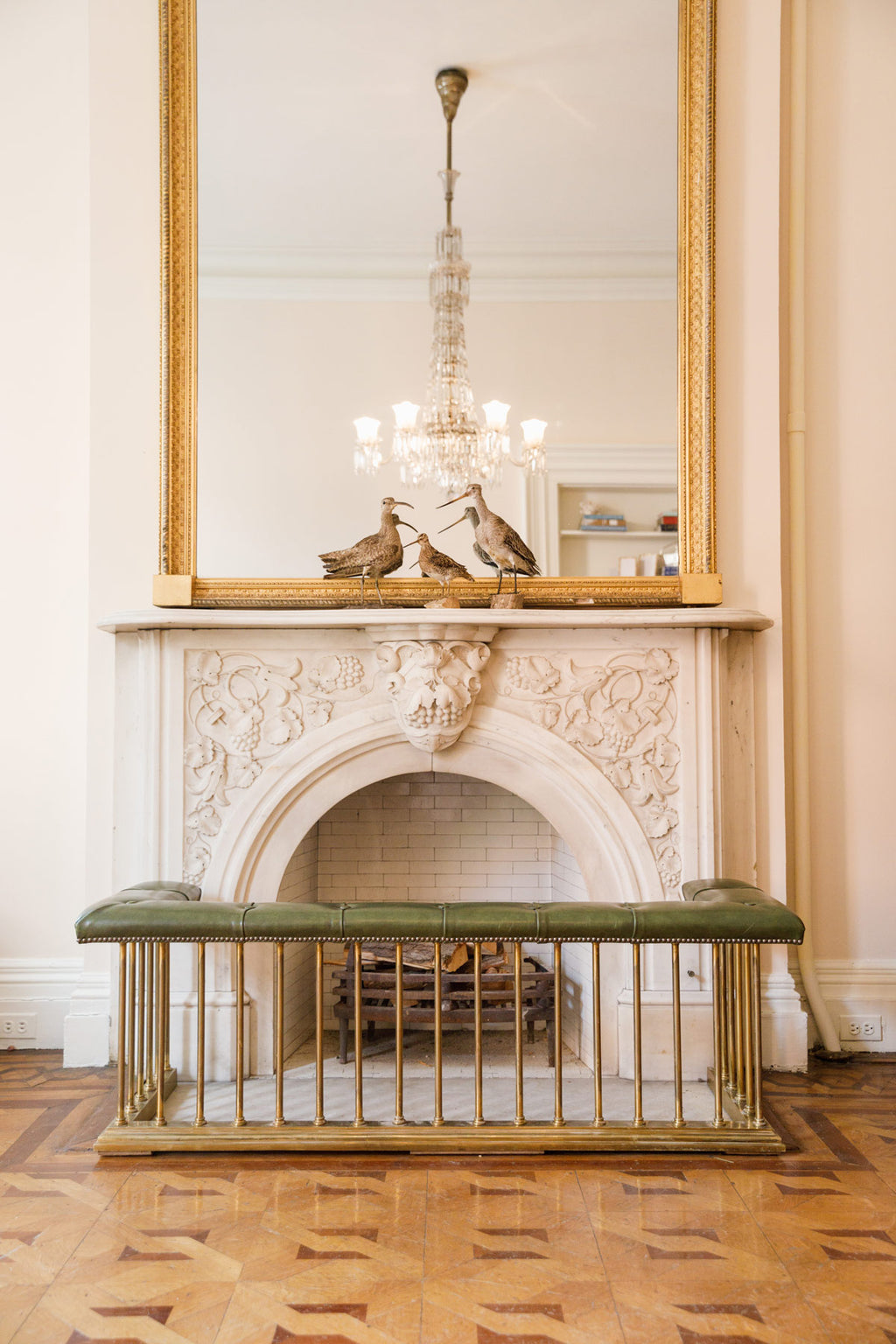 Brass and Tufted Leather Fireplace Fender