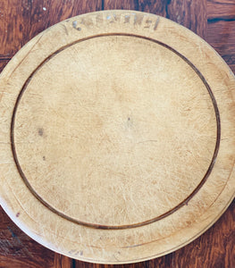 Antique Round Carved Wood Bread Board, Medium