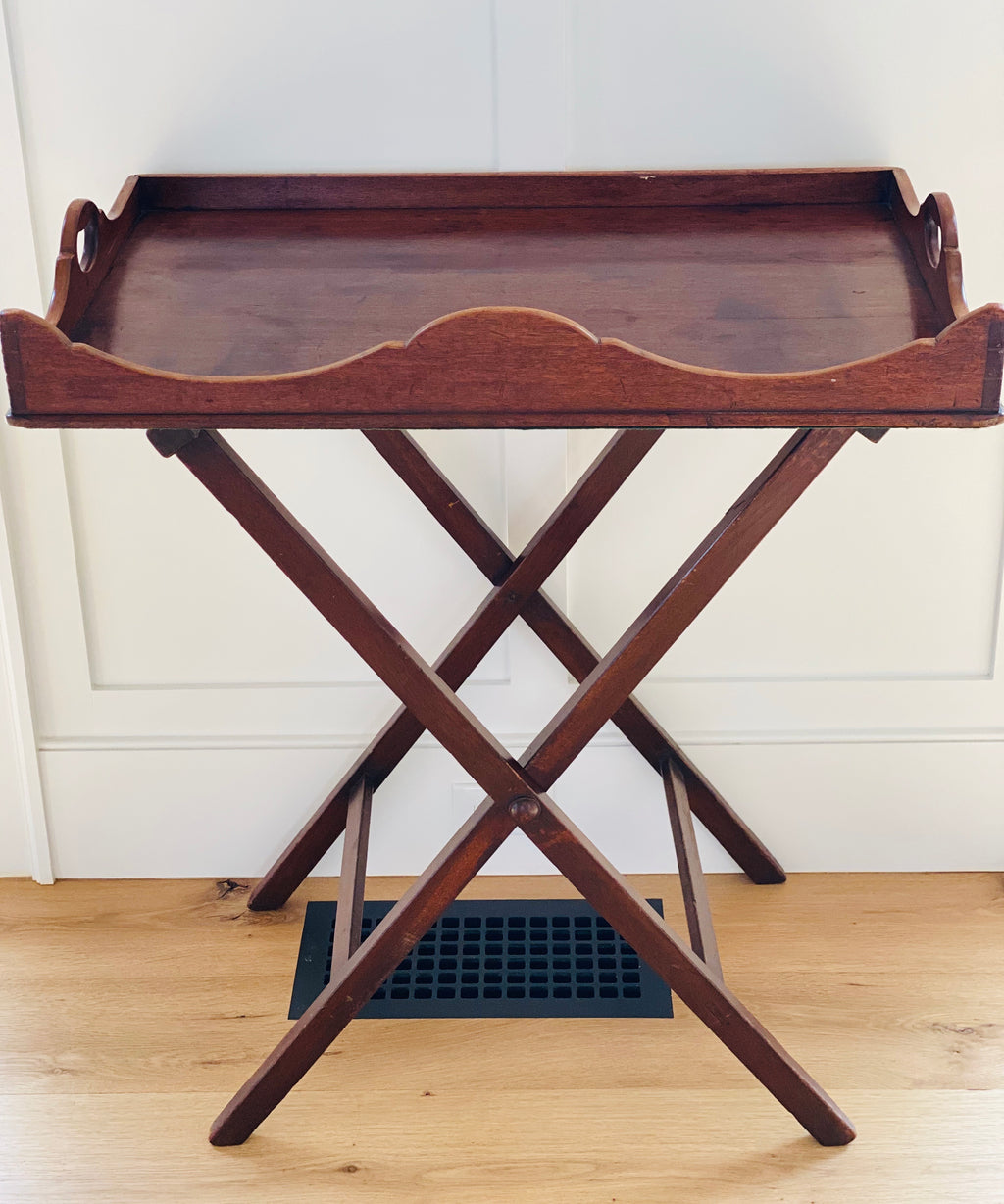English Mahogany Butler's Tray with Stand