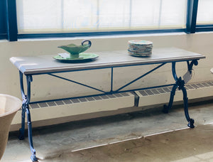 French Cast Iron Console Table with new Limestone Top