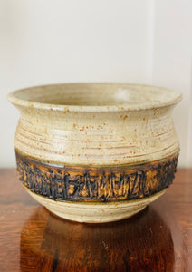 Vintage Studio Pottery Bowl with Faux Bois detail