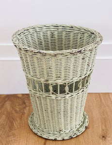 Antique Painted Wicker Wastebasket
