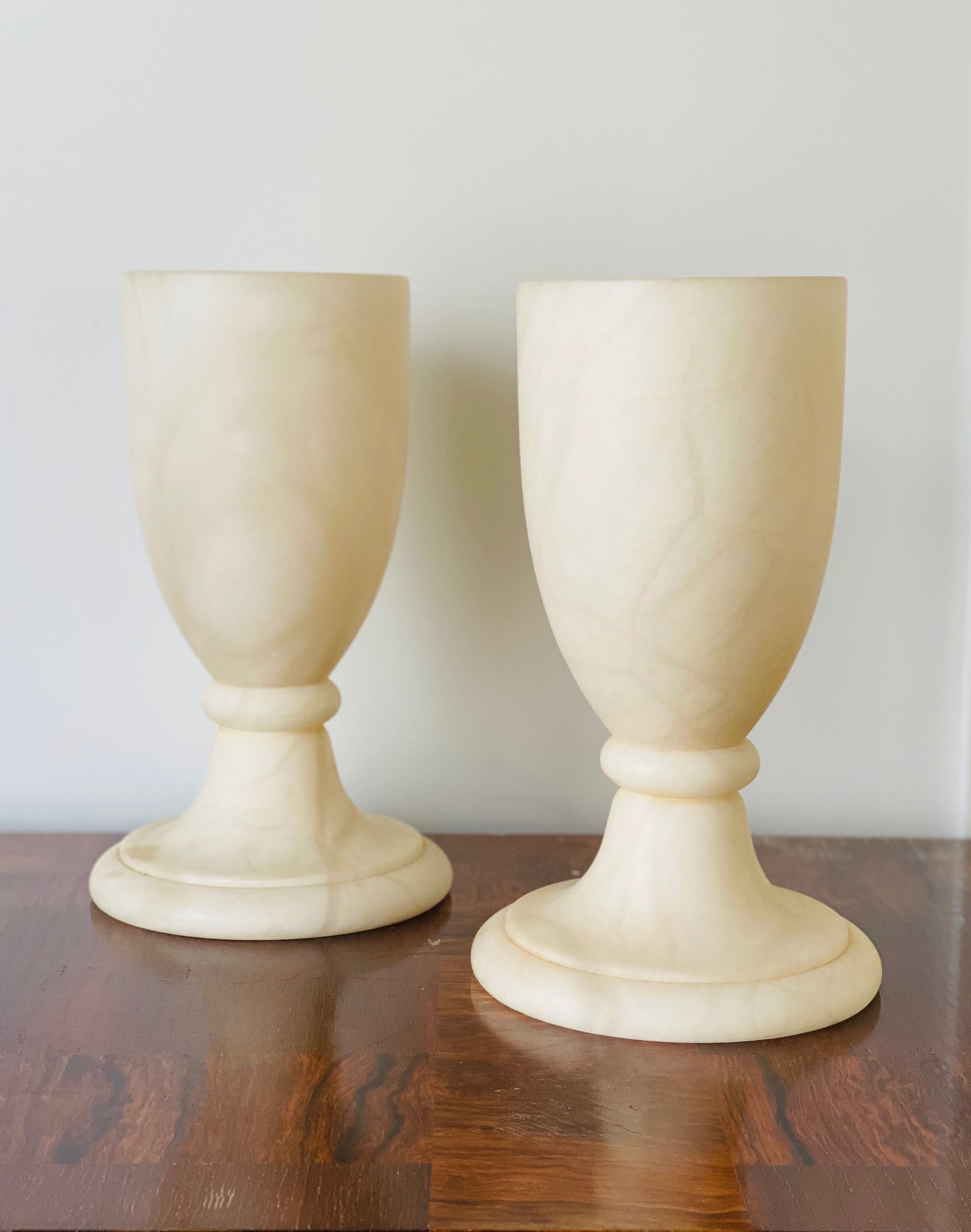 French Art Deco Alabaster Table Lamps, Pair