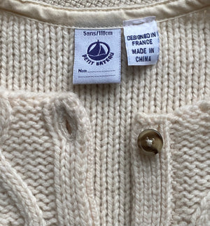 Child's Aran Sweater by Petit Bateau