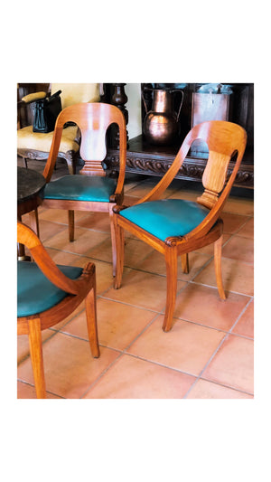 Chairs in Walnut with Teal Leather Upholstery, Set of Five