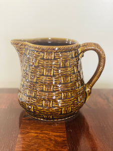 Antique French Majolica Pitcher in Basket Weave Motif