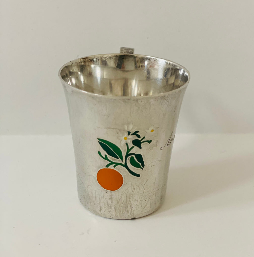 Tiffany & Co Sterling Baby Cup with Enamel Inlay