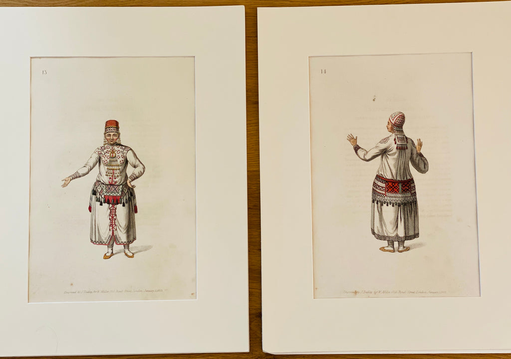 Antique Engraving of Costumes of the Russian Empire by John Dadley, c 1803, Pair