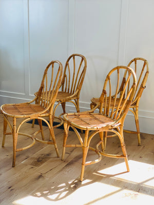 Josef Frank Bamboo and Rattan Chairs, Set of Four