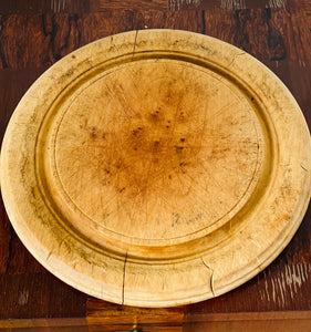 Antique Round Carved Wood Bread Board, Large