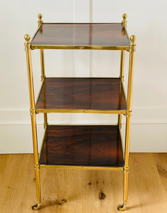 Brass and Rosewood Three Tier Side Table