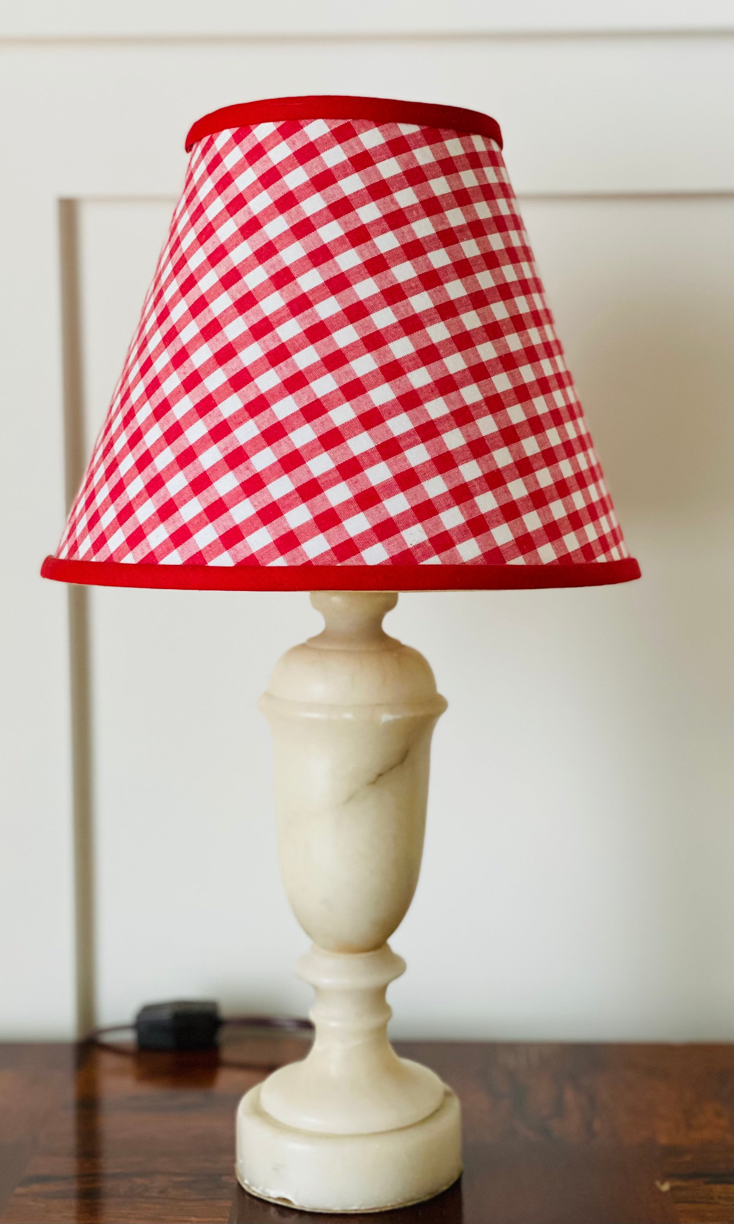 Vintage Marble Urn Table Lamp with Red Gingham Shade