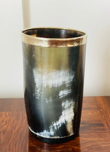 Vintage Horn Tumbler with Silverplate Rim