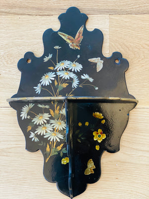 Vintage Black Wall Brackets with Handpainted Flower and Butterfly Motif, Set of Three